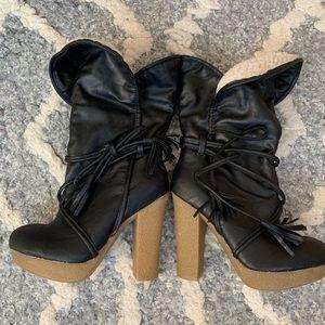 Mid Calf black boots.